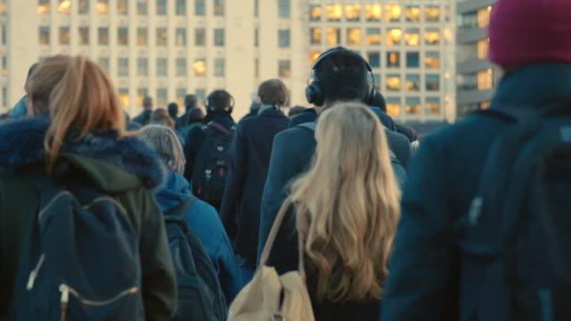 commuters walking to work. sm. - street video stock e b–roll