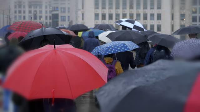 commuters with umbrellas in the rain. rear view. - london bridge inghilterra video stock e b–roll
