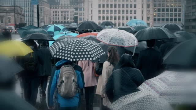 vídeos de stock e filmes b-roll de commuters with umbrellas in the rain. sm. - guarda chuva