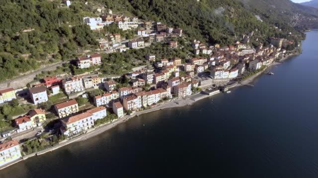 como lake aerial view - lombardia video stock e b–roll