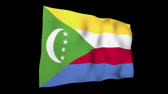 Comoros Flag National Flag indian ocean islands stock videos & royalty-free footage