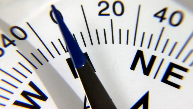 Compass in extreme closeup video
