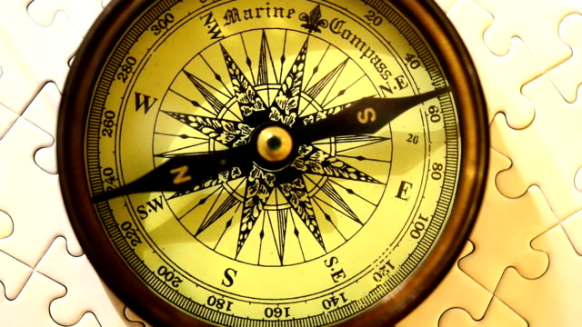 Compass on jigsaw puzzle Compass on jigsaw puzzle. navigational compass stock videos & royalty-free footage
