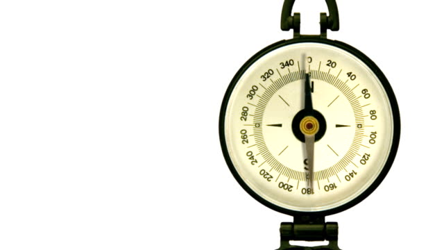 Compass Top view of compass with needle swinging from south to north navigational compass stock videos & royalty-free footage