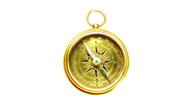 Compass Old brass compass compass with needle swinging isolated on white navigational compass stock videos & royalty-free footage