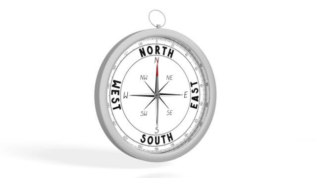 3d compass white background - sud est video stock e b–roll