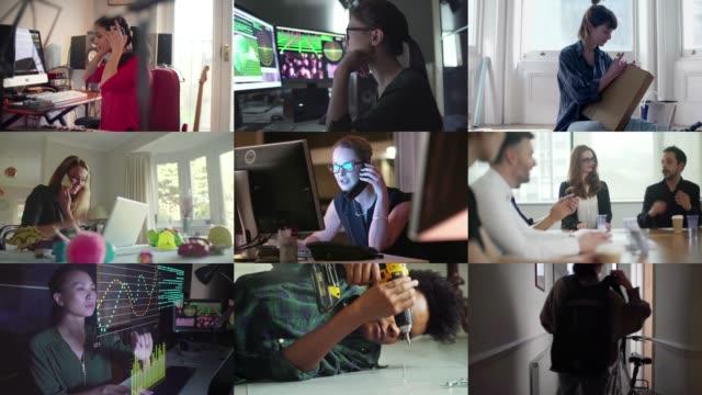 donne professioniste composite - composizione video stock e b–roll