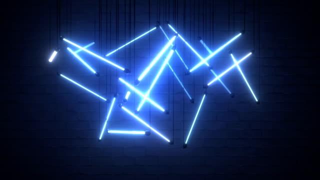 mavi floresan ampullerin bileşimi dikişsiz döngü 3d render animasyon - avize aydınlatma ürünleri stok videoları ve detay görüntü çekimi