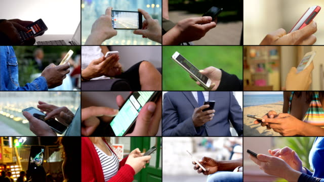 composition of technology devices being used. hands using smartphones - montaggio in sequenza video stock e b–roll