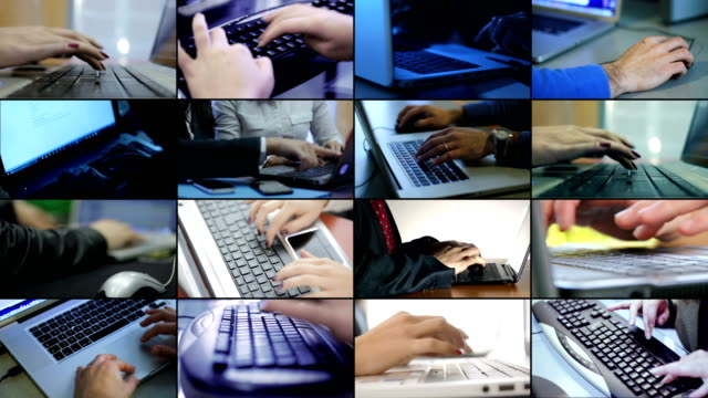 Composition on hands typing on computer keyboard. Business,technology,modernity Composition on hands typing on computer keyboard. Business,technology,modernity mosaic stock videos & royalty-free footage