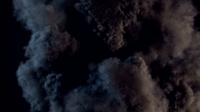 Composition with large explosions in dark. Alpha matte channel included. 3d rendering video