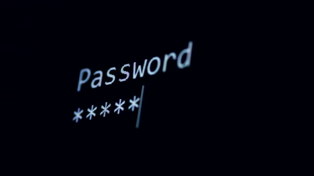 Computer access concept. Password typed on black screen. 4K. Computer access concept. Password typed on black screen. hacker stock videos & royalty-free footage