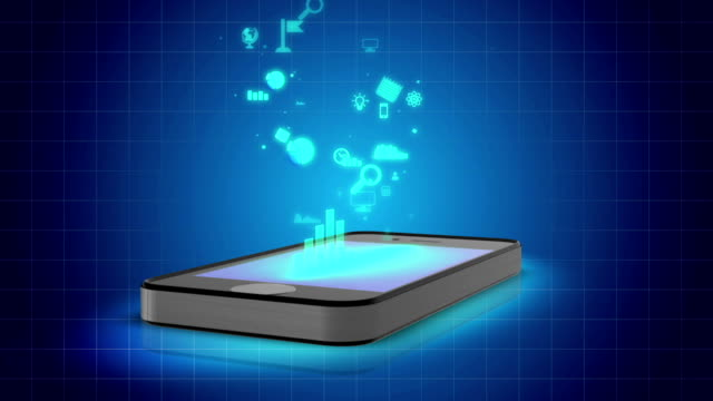 Computer animation of smartphone with icons, online applications make life video