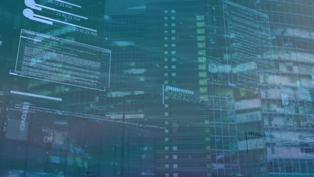 vídeos de stock e filmes b-roll de computer background with elements of interface, coding or it technologies - vírus informático