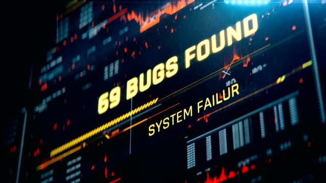 vídeos de stock e filmes b-roll de computer bugs countdown, system failure, server down, hacked database, warning - corruption
