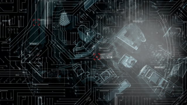 Computer circuit board and rotating ring on black background