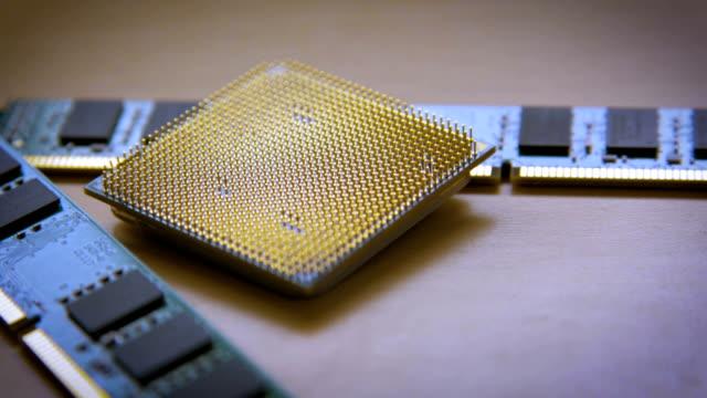 computer cpu or central processor unit chip rack focus video