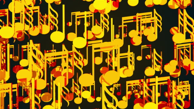Computer generated 3D rendering. Cluster of many gold musical notes on a black background