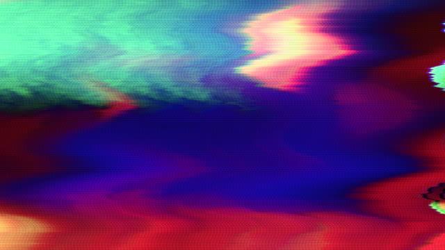 コンピュータ生成抽象アニメーション、虹のデータ崩壊模倣 - 文字記号点の映像素材/bロール