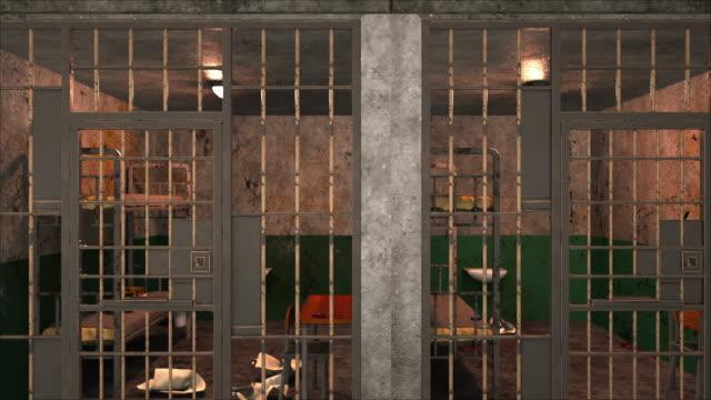 Computer generated background. Several gloomy prison blocks on two floors. 3d rendering