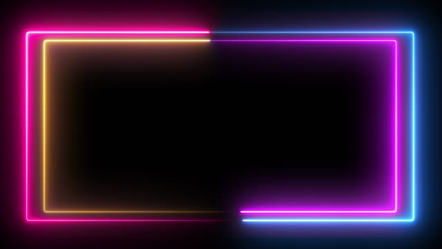 Computer generated color animation. 3D rendering neon box of blue and pink colors on a black background