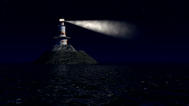 Computer generated lighthouse at night video