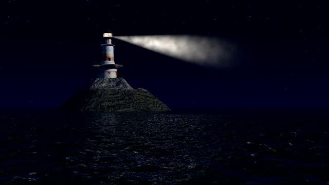 computer generierte leuchtturm in der nacht - leuchtturm stock-videos und b-roll-filmmaterial