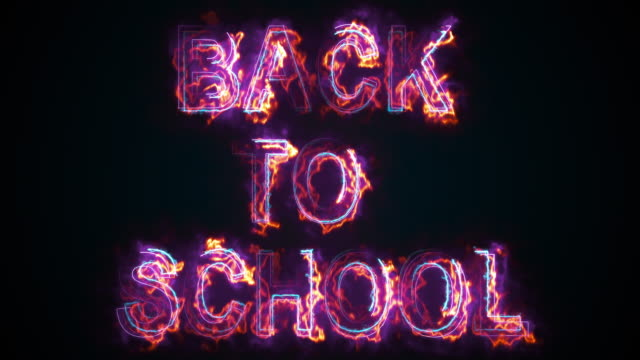 Computer generated the inscription Back to school. Burning words consists of capital letters. 3d rendering of education concept. Graphic background