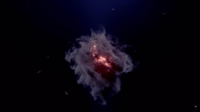 oluşturulan bilgisayar girdap gibi parlayan kıvılcım ve koyu duman ile patlama. 3d render. 4k, ultra hd çözünürlük. - kıvılcım stok videoları ve detay görüntü çekimi
