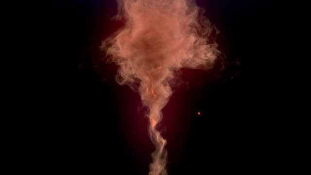 Computer generated vortex like magic explosion with glowing sparks and dark smoke. 3d rendering. 4K, Ultra HD resolution.
