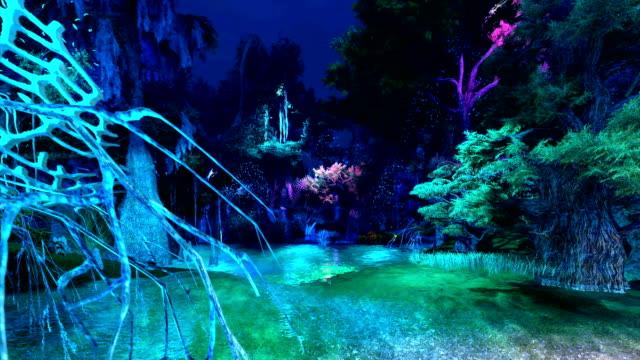 computer graphics view through illumination forest - immaginazione video stock e b–roll