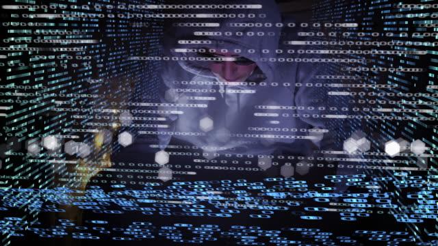 Computer hacker at work behind a digital screen