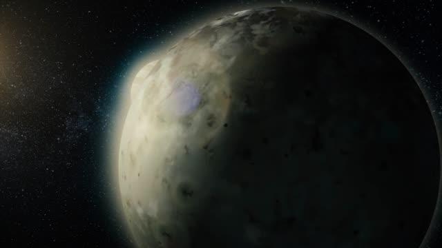 3d computer illustration of jupiter and its volcanic moon io. io jupiter moon - io księżyc filmów i materiałów b-roll