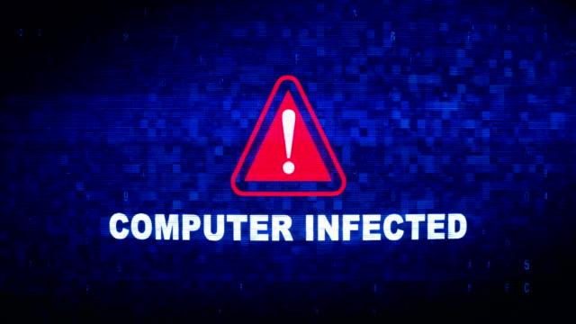 komputer zainfekowany tekst cyfrowy szum twitch glitch distortion effect animacja błędu. - spyware filmów i materiałów b-roll