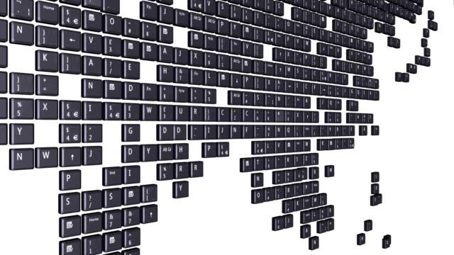 컴퓨터 암호키 세계지도 - home 스톡 비디오 및 b-롤 화면