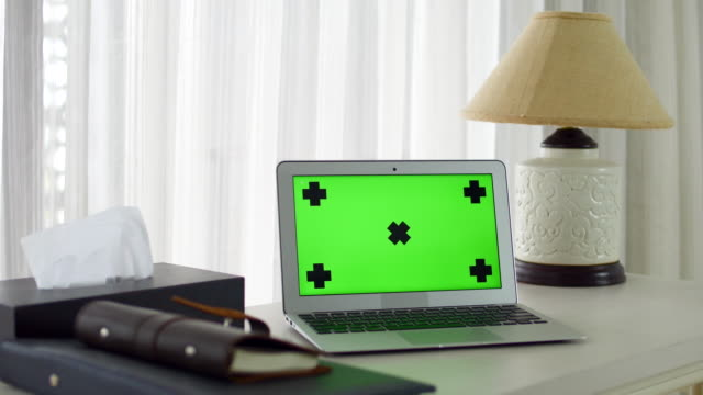 Computer Laptop With Green Screen
