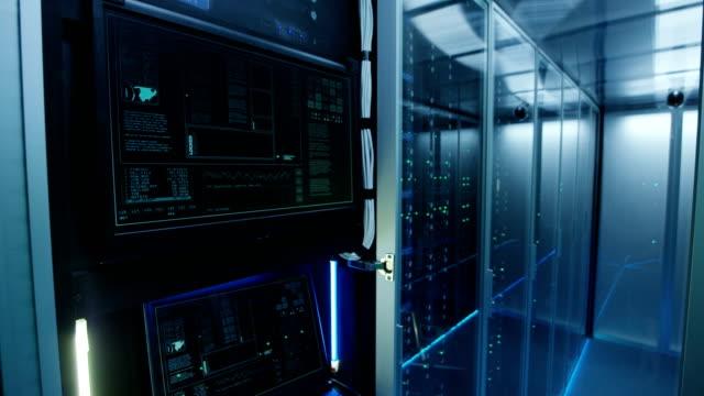 computer login screen in a modern data center - negacja filmów i materiałów b-roll