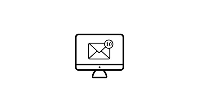 Computer mail notification concept 2d animation Computer email concept 2d animation in simple outline style. PC screen icon with mail notification for business newsletter, office mailing or social network app in 4k footage. Alpha channel mode included. email icon stock videos & royalty-free footage