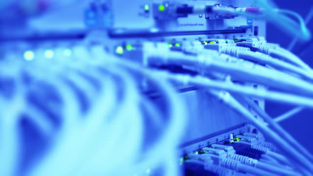 Computer Network Switch With Blinking Lights Close-up video