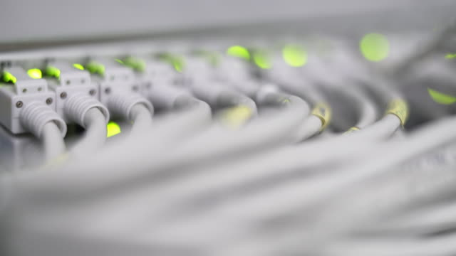 Computer Network Switch With Blinking Lights Rack Focus video