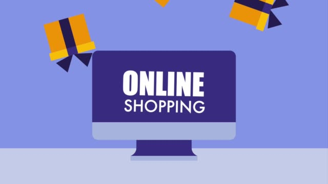 computer online shopping gift boxes icon vector ilustration computer online shopping gift boxes office illustrations videos stock videos & royalty-free footage