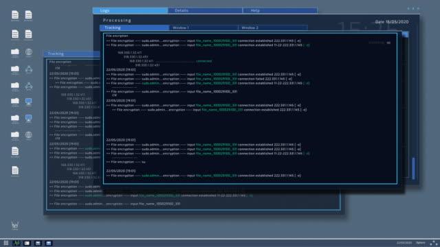 vidéos et rushes de interface de conception du système d'exploitation de l'ordinateur avec interface de fonctionnement terminal montrant la sécurité et la stabilité du code et du système d'exploitation. os avec diverses icônes système, e-mail et navigateur intern - dossier document