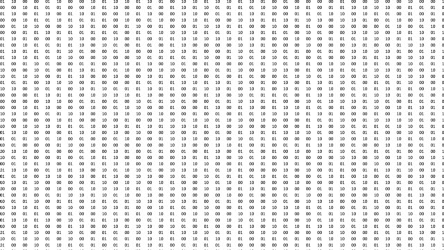 Computer screen animation with fast changing cryptic binary data.