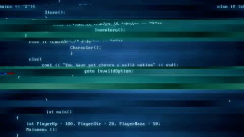 vídeos y material grabado en eventos de stock de pantalla código - efecto glitch | 4k - codificar