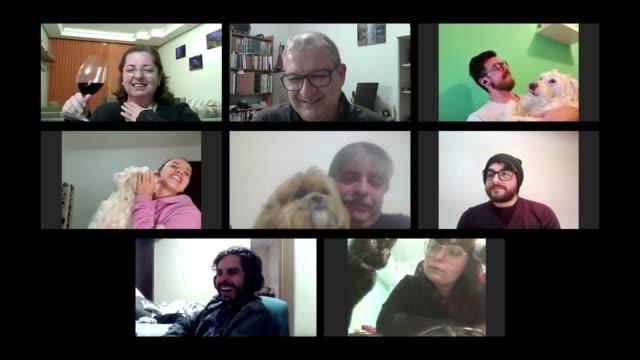 電話会議で話している友人とそのペットとのコンピュータ画面レイアウト - イヌ科点の映像素材/bロール