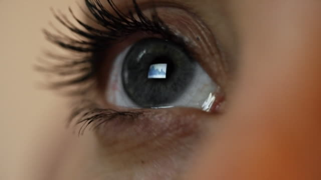 Computer Screen Reflected in Female Eye video