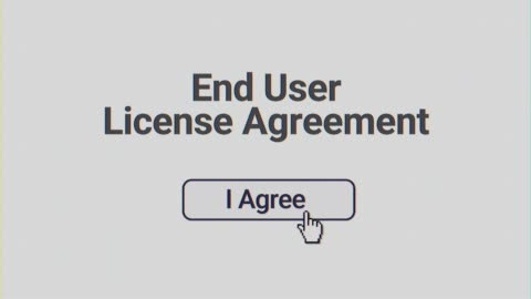 Computer Screen User Clicking I Agree EULA A simulated computer screen of a user clicking I Agree button on a end user license agreement EULA form. Flat angle. Clean and CRT versions included. agreement stock videos & royalty-free footage