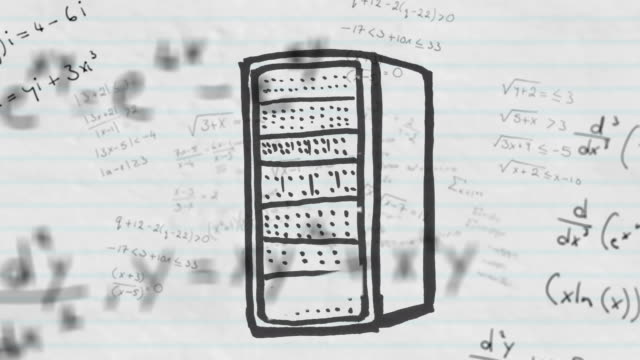 Computer server against mathematical equations on white lined paper