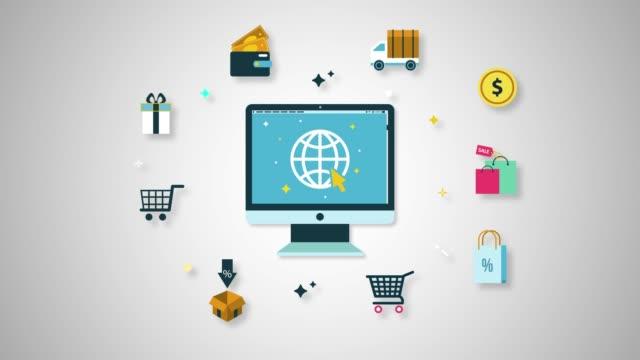 vídeos de stock e filmes b-roll de computer shopping line icon animation - shop icon