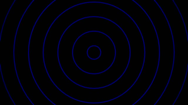 Concentric blue rings moving on the black background video